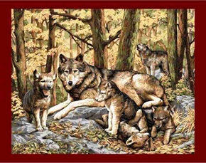 Picture of Brown Wolf Mom with Cubs in Woods Large Cotton Fabric Panel