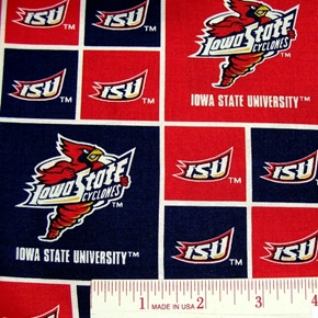 Iowa State University Red and Blue Cotton Fabric