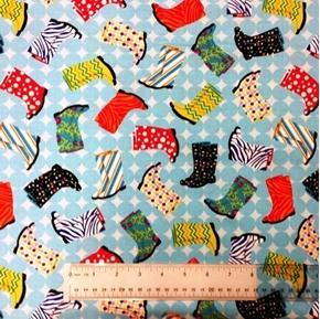Let it Rain Colorful Rain Boots on Blue Cotton Fabric