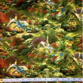 Enchanted Thatch Roof Cottage In The Country Cotton Fabric
