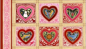 Marzipan Folk Art Pink And Red Hearts Bird Squares Cotton Fabric