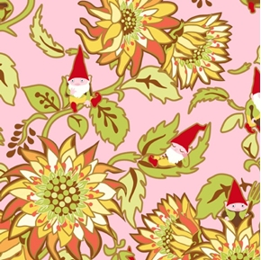 Picture of Better Gnomes and Gardens Gnomes and Flowers Pink Cotton Fabric
