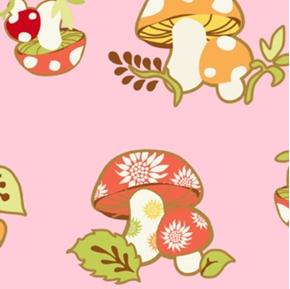 Picture of Better Gnomes and Gardens Mushrooms on Pink Cotton Fabric