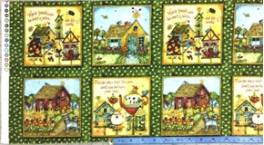 Home Sweet Home Bird Houses In Squares 12X44 Strip Cotton Fabric