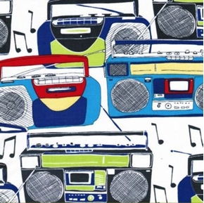 Picture of Jam Box Music Boom Box Stereos on White Cotton Fabric
