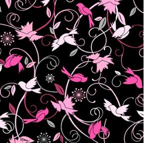 Picture of Musings Pink Birds and Swirls on Black Cotton Fabric