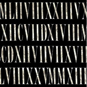 Roman Numerals Cream Numerals On Black Cotton Fabric