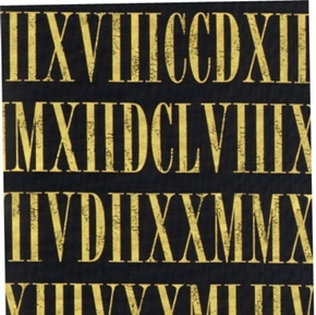 Roman Numerals Gold Numerals On Black Cotton Fabric