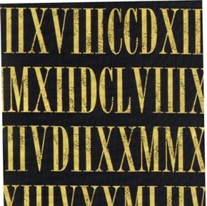 Roman Numerals Gold Numerals On Black Cotton Fabric