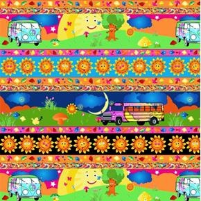 Picture of Trippin Peace Vans and Mushrooms Striped 24x22 Cotton Fabric