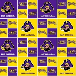 East Carolina University Pirates Blocks Cotton Fabric