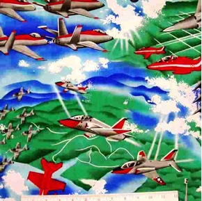 Picture of Air Show Military Fighter Planes Cotton Fabric