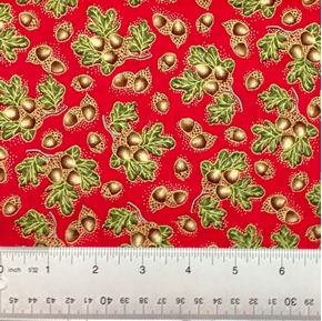 Picture of Harvest Medley Acorns Leaves on Red Cotton Fabric