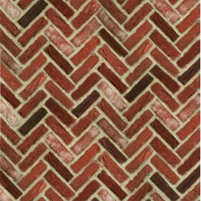 Quilting Naturals Brick Wall Red Herringbone Bricks Cotton Fabric