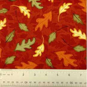 Harvest Fare Autumn Falling Leaves On Rust Cotton Fabric