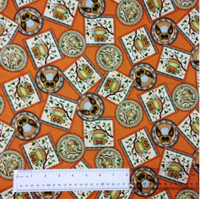 Lifes a Hoot Owl Squares Circles On Terracotta Cotton Fabric