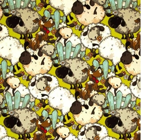 Funny Farm Sheep in the Flowers with Comical Dog  Cotton Fabric