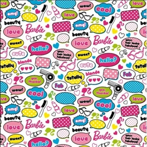 Flannel Barbie Phrases and Beauty Accessories on White Cotton Fabric