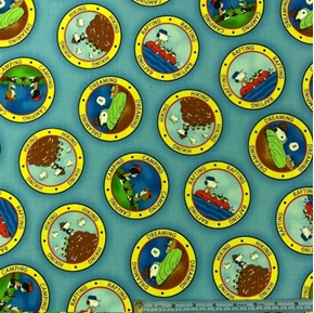 Camp Peanuts Camping Badges On Blue Cotton Fabric