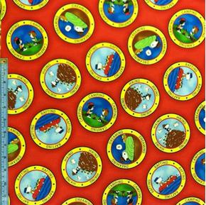Camp Peanuts Camping Badges On Red Cotton Fabric