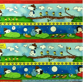 Picture of Camp Peanuts Snoopy and Friends 24x22 Scenic Stripe Cotton Fabric