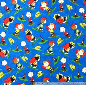 Camp Peanuts Charlie Brown Character Toss On Blue Cotton Fabric