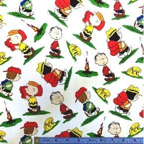 Picture of Camp Peanuts Charlie Brown Character Toss on White Cotton Fabric