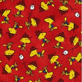Picture of Camp Peanuts Woodstock Marshmallows on Red Cotton Fabric