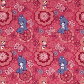 Picture of Care Bears Pink Purple Bears Butterflies on Magenta Cotton Fabric
