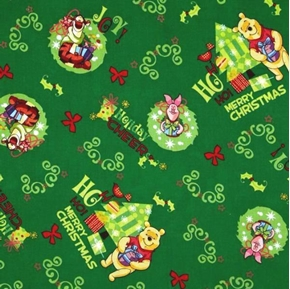 Picture of Disney Winnie The Pooh and Friends Holiday Cheer Cotton Fabric