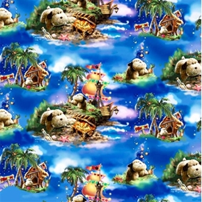 Picture of Pillow Pets Snuggly Dog, Ships and Treasure Cotton Fabric