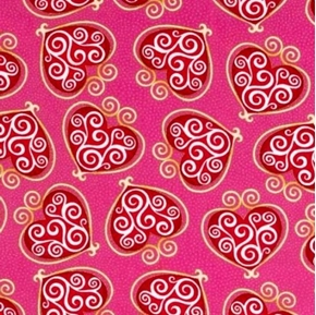Hugs And Kisses Red Hearts With Scrolls On Pink Cotton Fabric