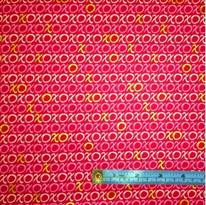 Picture of Hugs and Kisses XOXO on Dark Pink Cotton Fabric