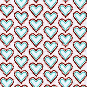 Picture of Smitten Hearts Red and Blue on White Cotton Fabric