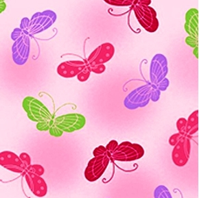 Picture of Love & Hope Cancer Awareness Butterflies on Pink Cotton Fabric