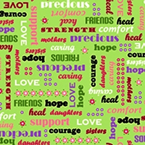 Picture of Love & Hope Cancer Words Of Support on Green Cotton Fabric