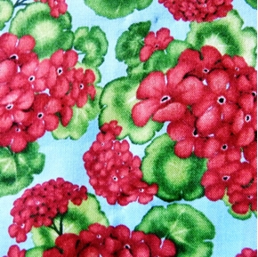 Picture of Geraniums Country Red Flowers on Blue Cotton Fabric