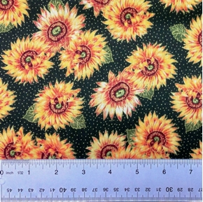 Harvest Medley Gold Laced Sunflowers On Green Cotton Fabric