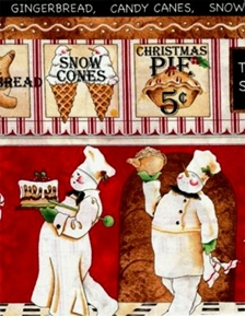 Bakers Dozen Snowmen Bakers Striped 24X22 Cotton Fabric