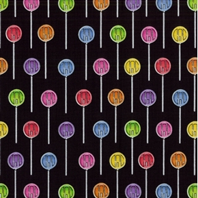 Sweet Scoop Candy Lollipops Suckers On Black Cotton Fabric