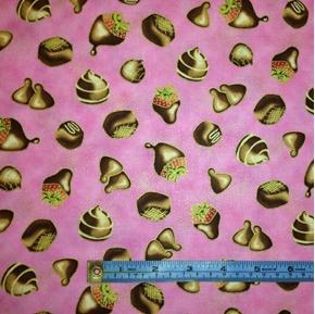 Hugs And Kisses Chocolates Gold Specks On Pink Cotton Fabric