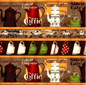 Daily Grind Coffee Pots and Cup 24x22 Stripe Cotton Fabric