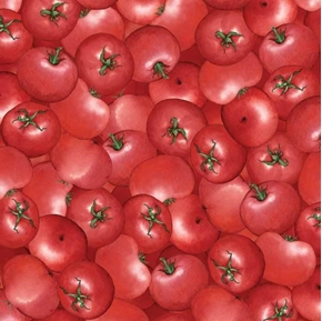 Mcgregors Market Red Tomatoes Cotton Fabric