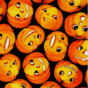 Creepers Peepers Smiling Halloween Pumpkins On Black Cotton Fabric