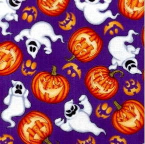 Picture of Boo Crew Ghosts and Jack-o-Lanterns on Purple Cotton Fabric