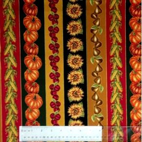 Picture of Harvest Medley Fall Vegetables, Sunflowers Stripes Cotton Fabric