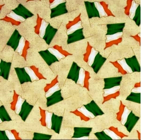 Picture of Luck of the Irish Flags of Ireland on Cream Cotton Fabric