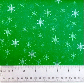 Santa Paws Holiday Winter Snowflakes On Green Cotton Fabric