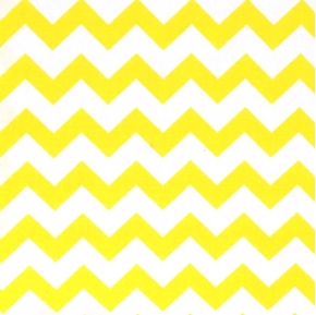 Chevrons Half Inch Yellow Chevron On White Cotton Fabric