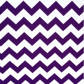 Chevrons Half Inch Purple Chevron On White Cotton Fabric